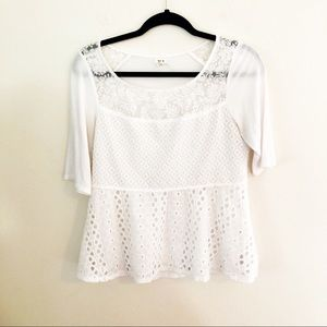 Anthropologie Tiny Brand Patchwork Lace Top